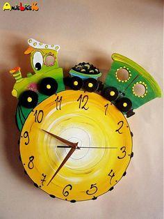 anjelicek / Hodiny vláčik Clock, Wall, Home Decor, Watch, Decoration Home, Room Decor, Clocks, Walls, Home Interior Design