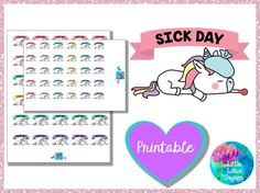 Uli Unicorn - Sick Day printable planner stickers, no work, play, free time, unicorn, vespa, erin condren, happy planner, kawaii