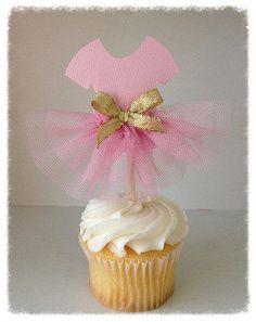 Reservados 12 Ballet Tutu Cupcake Toppers conjunto de seis