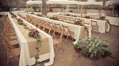 WEDDING DECOR. Reception decor. Long tables and red fruits table runners.