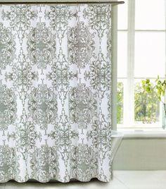 tahari fabric cotton blend shower curtain milan scroll grey white new