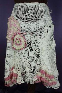 Vintage doily lace skirt.