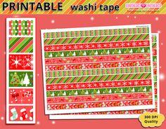 Printable Washi Tape Christmas weekly kit - Erin condren - filofax - happy planner - kikki k embellishment banner dividers cards ornaments Washi tape