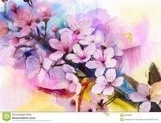 waterverf-het-schilderen-kersenbloesems-japanse-kers-roze-sakura-66439685.jpg (1300×995)