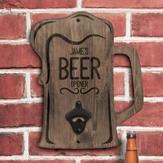 Personalise this rough side wall bottle opener with a name and message up to 12 characters per line BEER comes as fixed text Rough Side Wall Mounted Diy Bottle Opener, Wall Mounted Bottle Opener, Beer Bottle Opener, Woodworking Projects Diy, Diy Wood Projects, Wood Crafts, Weekend Crafts, Wood Art, Wood Signs