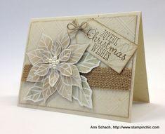 handmade card ... nuetral colors ... layered poinsettia ... burlap ribbon ... embossing folder diamond grid ... like it! ...  Stampin' Up!