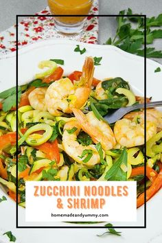 Healthy and delicious. Zucchini Noodles & Shrimp is a one skillet meal made in minutes. Who doesn't love zoodles?? | homemadeandyummy #zucchininoodles #zoodles #zucchinirecipes #oneskilletmeals #shrimprecipes | homeamadeandyummy.com Easy Baking Recipes, Quick Dinner Recipes, Kitchen Recipes, Cooking Recipes, Healthy Recipes, Beef Recipes, Supper Recipes, Savoury Recipes, Healthy Tips
