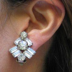 Baguette rhinestone earrings.  Inexpensive and beautiful at $12.00