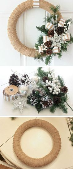 Burlap Christmas Wreath Tutorial DIY Christmas Wreaths for Front Door Easy Christmas Decorating Ideas 2014 Noel Christmas, Rustic Christmas, Christmas Projects, Simple Christmas, Christmas 2019, Handmade Christmas, Christmas Ornaments, Christmas Swags, Elegant Christmas
