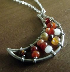 Fire Opal Moon Necklace by MoonLitCreations on Etsy, $80.00