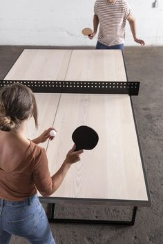 Office ping pong table from Union Wood Co. Table Tennis Game, Table Games, Game Tables, Ping Pong Table Top, Ping Pong Room, Ping Pong Paddles, Conference Table, Custom Furniture, Game Room