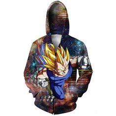 DBZ Super Saiyan Prince Vegeta Space Galaxy 3D Zip Up Hoodie