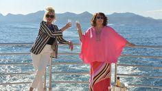 Joanna Lumley and Jennifer Saunders as Patsy and Edina living the high life on their yacht in France Patsy And Edina, Jennifer Saunders, Joanna Lumley, Born Again Christian, Ab Fab, Six Pack Abs, Absolutely Fabulous, French Riviera, Feature Film