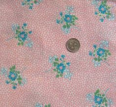 vintage feedsack fabric  BLUE FLORAL on PINK by NauvooQuiltCo, $5.50