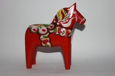 Red Dala horse Swedish folk art Sweden by MillCottageRetro on Etsy