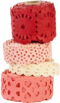 Set of four paper tapes-A delicate embellishment for Valentine's cards, crafts and more!