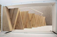 Wooden birch staircase