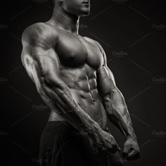 Male bodybuilder with six pack by Usmanov Stock Photography on @creativemarket