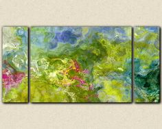 Large triptych abstract expressionism stretched by FinnellFineArt
