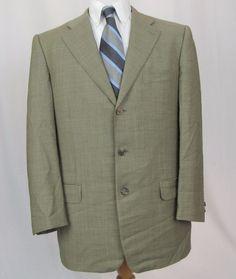 Ermenegildo Zegna Blazer 42R High Performance Wool Green 3 Button Sport Coat #ErmenegildoZegna #ThreeButton