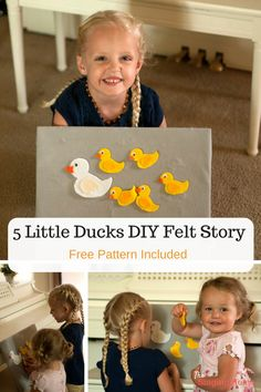 27 is all about yourself! 5 Little Ducks Felt Story ~ Free pattern included Flannel Board Stories, Felt Board Stories, Felt Stories, Flannel Boards, Toddler Activities Daycare, Quiet Time Activities, Preschool Songs, Preschool Activities, Diy Busy Books