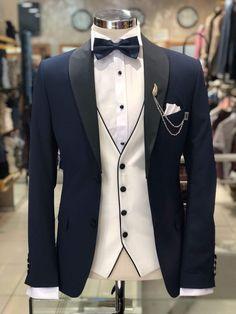 Slim-Fit Tuxedo Suit Navy-Blue Slim-Fit Tuxedo Suit Navy-Blue<br> Available Size : Suit material : Cotton, Linen Machine washable : No Fitting : slim-fit Remarks : Dry Cleaner Groom Tuxedo, Tuxedo Suit, Tuxedo For Men, Blue Tuxedo Jacket, Navy Slim Fit Suit, Slim Fit Tuxedo, Indian Men Fashion, Mens Fashion Suits, Mens Suits