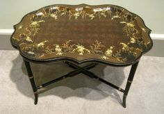 Antique Tole Tray on Stand