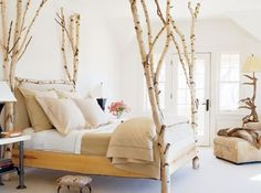 aspen bed - white natural wood posts at all four corners
