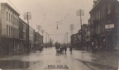 Paint Street at Second Street, looking north during the 1913 flood.