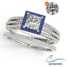 3Row Split Shank Princess Cut D/VVS1 Diamond Bridal Ring With Free Gift 2-6/7 CT…