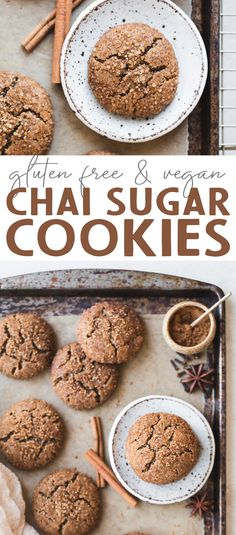 Meet your new favorite chewy cookie - these Gluten-Free Vegan Chai Sugar Cookies! These Paleo-friendly cookies have a crispy exterior with a tender, chewy center. They're the perfect pairing for nut milk, tea, or coffee. Gluten Free Sugar Cookies, Easy Sugar Cookies, Sugar Cookie Dough, Chocolate Chip Cookie Dough, Healthy Cookies, Gluten Free Desserts, Vegan Desserts, Sugar Free, Diabetic Desserts