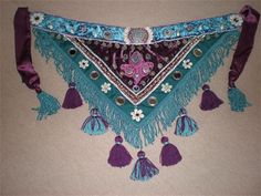 Handmade teal and deep plum tribal tassel belt by Velvet Claw Designs