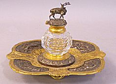 Gorham gilt brass and silver ink well c1845
