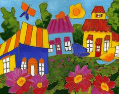 Passion couleurs par Isabelle Malo • Acrylique sur toile et collage • Mixed media • Folk art  • www.isamalo.com • Artiste peintre du Québec •Art naïf