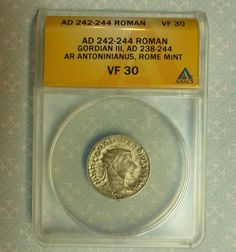 "Item specifics   Seller Notes: ""You are bidding on an AD 242-244 Roman Empire Gordian III silver AR Antoninianus that is ANACs certified Very Fine 30. It is amazing that after all of this time, you can still find Ancient coins in such nice shape. Enlarge photos to get a better look at..."