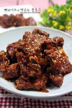 Bbq Pork Ribs, Korean Food, Chicken Wings, Easy Meals, Cooking Recipes, Meat, Baking, Dinner, Beef Stews