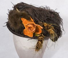 Rolled brim brown velvet hat, c.1900-1910 $850.