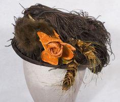 Rolled brim brown velvet hat, c.1900-1910 $850.