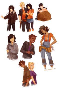 Nico (nicole), Annabeth (Andy), Percy (?), Thalia (?), Frank (frankie), Hazel (?), Leo (leia), Piper (?), Jason (Jasmine)
