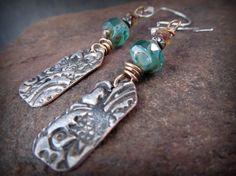 Rustic Stamped Earrings molten metal jewelry artisan  by GlowCreek
