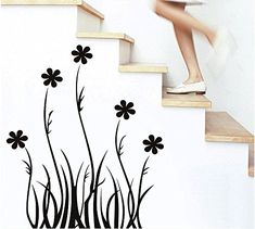 Modern Wall Decor Wall Art DIY New Wall Stickers Home Decor Decal Mural Room Paper Art Black Grass Flower ** To view further for this item, visit the image link.