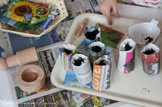 Montessori practical life activity / newspaper containers for seedling