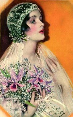 1920s Flapper Bride with Orchids Downloadable by naturepoet, $5.00