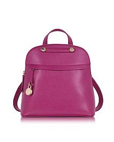 Piper M Embossed Leather Backpack - Furla