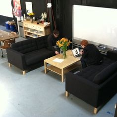 Comfortable collaboration space does not need to have desks or tables.  From the office of Milk Inc.