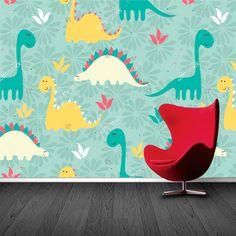 Fotobehang Dino patroon | Maak het jezelf eenvoudig en bestel fotobehang voorzien van een lijmlaag bij YouPri om zo gemakkelijk jouw woonruimte een nieuwe stijl te geven. Voor het behangen heb je alleen water nodig!   #behang #fotobehang #print #opdruk #afbeelding #diy #behangen #patroon #baby #babykamer #jongenskamer #jongen #dino #dinosaurus #groen