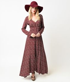 1970s Style Burgundy Floral Long Sleeve Button Up Maxi Dress