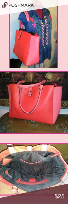Pink & Red Colorblock Tote by Neiman Marcus Pink & Red Colorblock Tote by Neiman Marcus! NWOT! Perfect for year round use but imagine all the outfits in your closet this will work great with NOW! Hit buy now or make an offer. Rock'N Ship is a Top 10% Seller on Poshmark. We add new items daily. Please like or share. Neiman Marcus Bags Totes