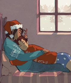 time flies so frickin fast. it's almost xmas and i haven't had the time to draw xmas stuff. sighh. here's ari & dante snugglin. shhh i know they live in texas. but i couldn't help myself. snow and big trees add to the cuddle vibe.