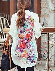 Mujer de manga larga Impreso blusa de la gasa – USD $ 20.29